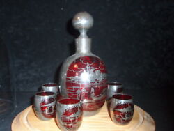 Vintage Silver Overlay Venetian Decanter And Five Cordials Perfect