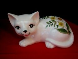 hand painted ceramic cat japan figurine porcelain. yellow flowers. 8quot; long