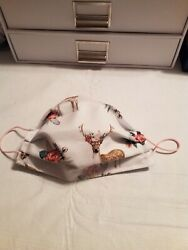 White Floral Deer REVERSIBLE Cotton face mask with elastic $8.00