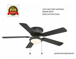 Harbor Breeze Armitage 52 in Bronze LED Indoor Flush Mount Ceiling Fan with Kit $52.85