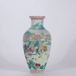 14.6 Qianlong Marked Famille Rose Porcelain Painting Scenery House Package Vase