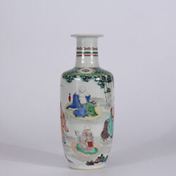 10.4 Antique Old Chinese Kangxi Multicolored Porcelain Hand Painting Poet Vase