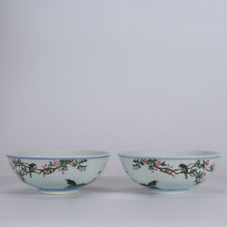 5.7 Old Qianlong Marked Famille Rose Porcelain Hand Painting Flower Bird Bowl