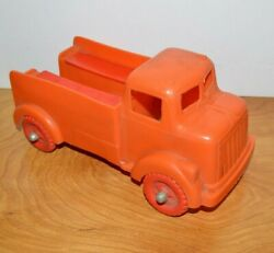 Vintage Ideal Fix It Truck Plastic Toy With Tool Boxes 9.5 Long 1950's Orange