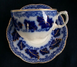 Johnson Brothers Normandy- Flow Blue C.1913+ Oversized Cup And Saucer- Excellent