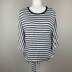 GAP Wrap Top Womans Size Large Tall Open Back Flutter Sleeves Striped Blue White