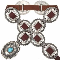 Navajo Cast Silver Concho Belt, First Phase Jim Morrison Style, Turquoise Buckle