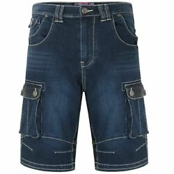 Mens Kam Big Tall Size Stretch Stretchable Denim Jeans Cargo Shorts Bottoms