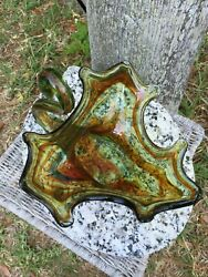 Vintage Murano Green Red Orange Swan Candy Candle Art Glass Bowl Centerpiece