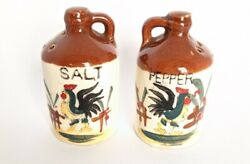 Vintage Ceramic 1950#x27;s Salt amp; Pepper Shakers Roosters Dutch Inspired