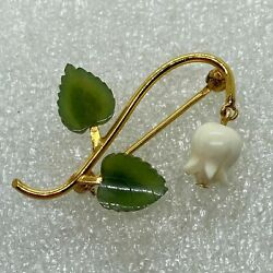 VINTAGE ART NOUVEAU WRF LILY OF THE VALLEY FLOWER BROOCH IVORY COLOR JADE Gold