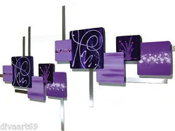 Huge Passionate Purple Square Wood And Metal Wall Hangings Wall Sculpture