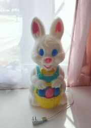 Vtg 19 Easter Bunny Rabbit Basket W Eggs Lighted Blow Mold Yard And Indoor Decor