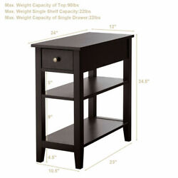 Set of 2 3-Tier Nightstand Bedside Side End Table wDouble Shelves Drawer Brown