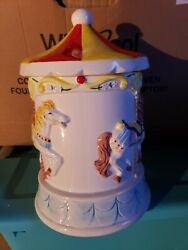 Nib Vintage Willitts Magical Moments Musical Carousel Cookie Jar Style 9053