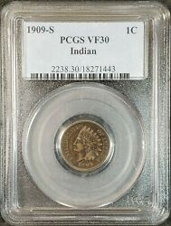 1909-s Indian Head Cent Pcgs Vf30 2238.30/18271443 Exquisite Coin Rare Key