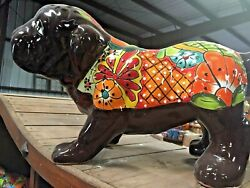 Talavera Mexican Pottery - Animals - Bull Dog - Large Free Freight