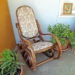 Antique / Vintage Bentwood Wood Rocking Chair Rocker Tapestry Cushion Heavy Wear