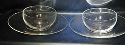 A Pair Of Clear Glass Ice Cream And Cake Plates - Unbranded
