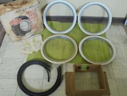 Nos 59-64 Ford Rotunda White Wall Trim Beauty Rings 14 Wheel Hubcap Surround
