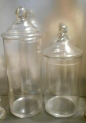 2 Large Vintage Glass Apothecary Jars Store Counter Display Canisters Candy More