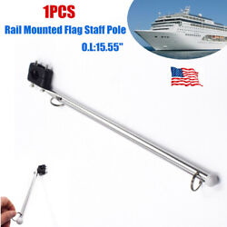 1pcs 304 Stainless Steel Boat Rail Mounted Flag Staff Pole W/plastic Rail Clamp