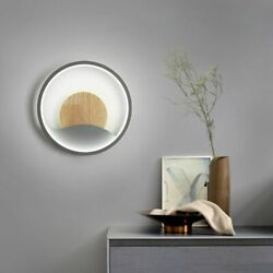 Wall Lamp Round Light Minimalism Led Hardware With Wooden Living Room Decoration