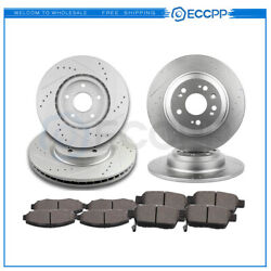 Ceramic Brake Pads And Rotors Front Rear For Acura Tl 2009-2014 Drilled Slotted
