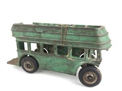 1930's Arcade Toys Cast Iron Green Bus Toy As Is Parts