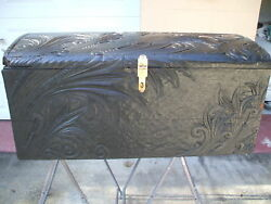 Unique 1891 Antique Detailed Craftsman Hand Carved Trunk Bridal Chest Dowry