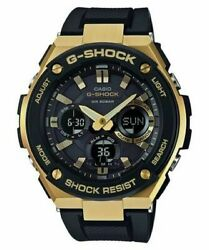 Casio Menand039s G-steel Tough Solar Resin Band Gold 200m Watch Gsts100g-1a