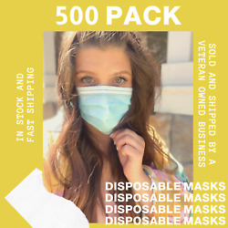 500 Pcs Disposable Face Mask Non-medical 3-ply Earloop Mouth Cover