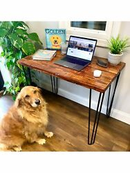 Thorwoods Handmade Rustic Distressed Real Wood Desk And Dining Table Hairpin Legs