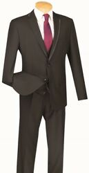 Mens Suit Single Breasted 2 Buttons 3 Piece Slim Fit Textured Solid Black Sv2t-8
