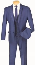 Men's Suit Single Breasted 2 Buttons 3 Piece Slim Fit Textured Solid Blue Sv2t-8