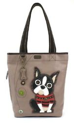 Chala Purse Handbag Everyday Zip Tote II Boston Terrier Puppy Dog Faux Leather $54.50