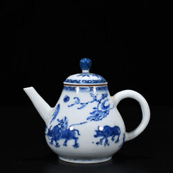 5.5 Old Kangxi Marked Blue And White Porcelain Painting Child Ride Ox Tea Pot