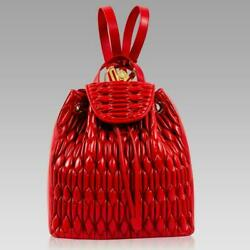 Valentino Orlandi Designer Backpack Scarlet Red Quilted Leather Bucket Tote Bag $995.00