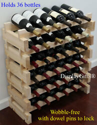 Sturdy 36 Bottles Wine Rack Stackable Storage 6 Tier Shelves Stand Thick Wood