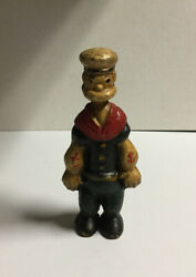 Rare 1950and039s Cast Iron Popeye Figurine Still Coin Bank 5