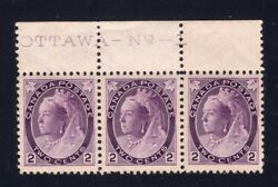 Canada Sc 76/76iii 1898 - 2c Numeral Plate Strip Major Re-entry Vf Nh