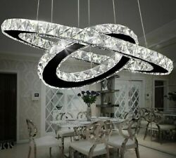 Chandeliers Crystal Ring Lighting Dimmable Bedroom Lights Mirror Stainless Steel