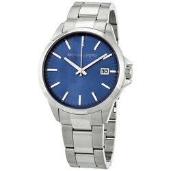 Michael Kors Penn Gents Silver Stainless Steel Blue MK8626 Mens Watch FAST P