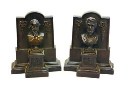 Pair American Bronze President Book Ends By Newark19th C. Washington And Lincoln