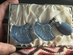 """2 Vintage Blue Glass Atomizer Perfume Bottles In Box Excellent 2"""" Set In Box"""