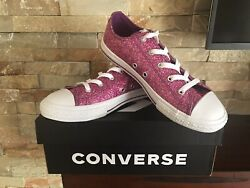 Girls Converse All Star Kids Youth CTAS OX Violet White Size 4 $20.00