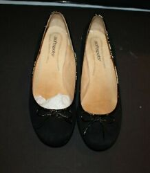 SOFTSPOTS ANGELA BLACK SUEDE WEDGE HEEL PUMPS WOMENS SZ 10 WW PRE OWNED