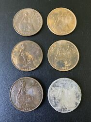 Lot Of 6 Great Britain One Penny Coins - 1921 1935 1939 1948 1964 1967