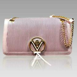 Valentino Orlandi Designer Pearly Rose Plisse Leather Crossbody Chain Purse Bag $1,100.00