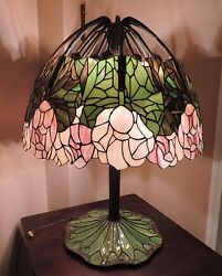 Reproduction Tiffany LOTUS Lamp Bronze Mosaic Lotus Lily Lamp COMPLETE w Shades
